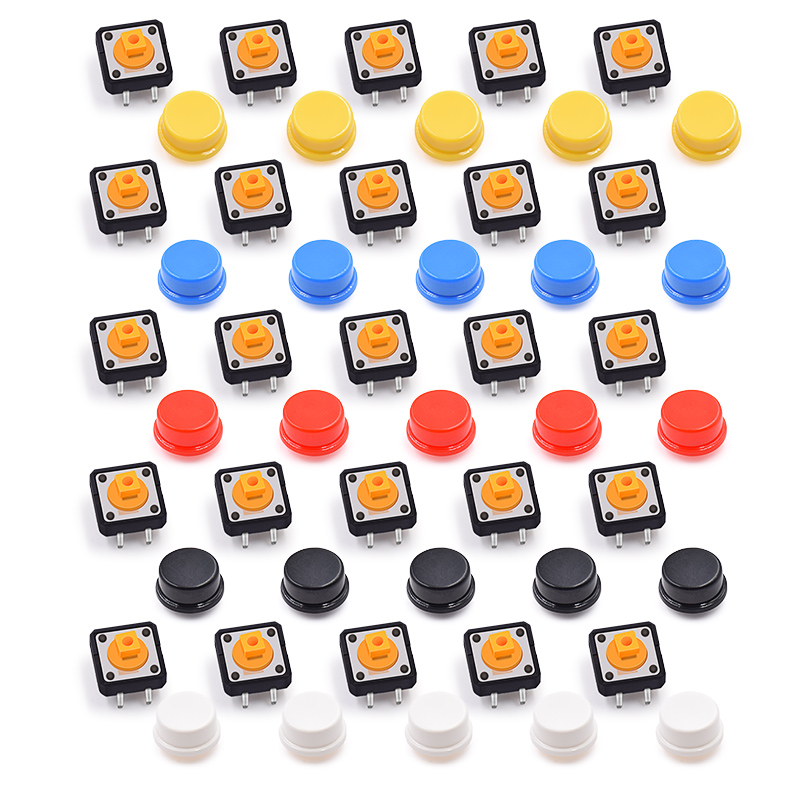Free Shipping 25PCS Tactile Push Button Switch Momentary 12*12*7.3MM Micro Switch Button + 25PCS Tact Cap(5 Colors) For Arduino