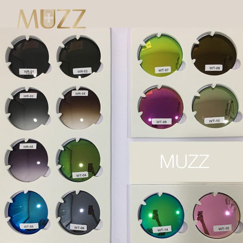 MUZZ 1.61 indice Prescription lentille CR-39 Protection UV lunettes de soleil lentille 2 pièces 1.56 indice miroir coloré myopie lunettes lentilles