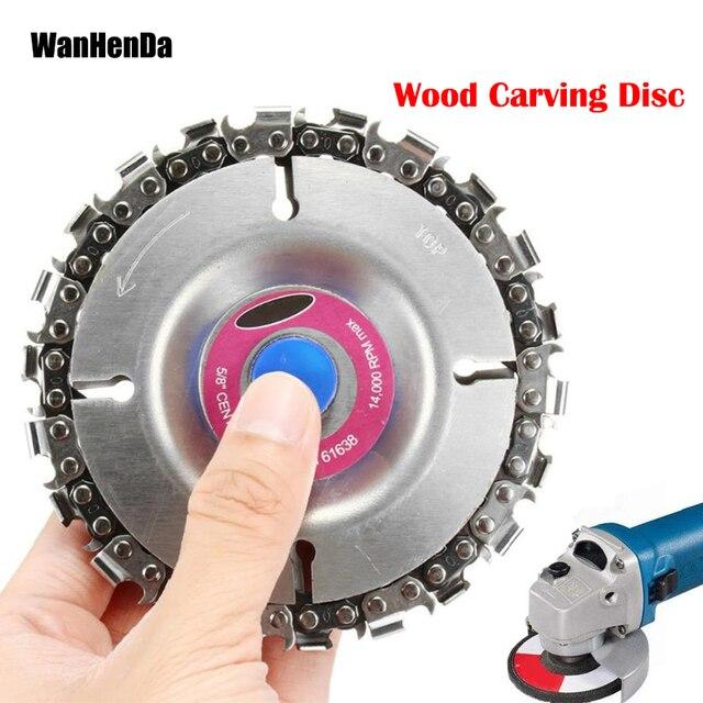 Nuevo 4 pulgadas disco amoladora y cadena 22 diente bien abrasivo de la cadena de corte para 100/115 amoladora de ángulo de talla de madera disco