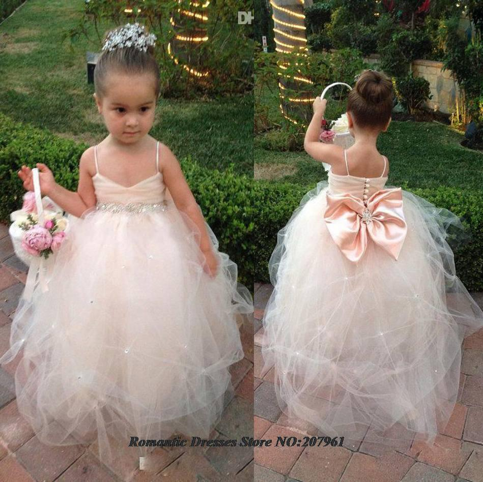 Ball Gown bow crystal Belt Flower Girl dresses 2016 Vestido de comunion Cute Little Girls pageant A6 - Romantic Bridal Wedding Dresses Store store