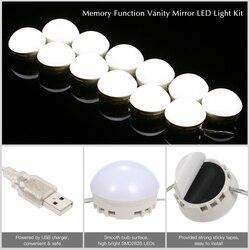 مرآة لوضع مساحيق التجميل الغرور LED مصابيح كهربائية كيت USB ميناء الشحن التجميل المضاء يشكلون مرايا لمبة سطوع قابل للتعديل أضواء