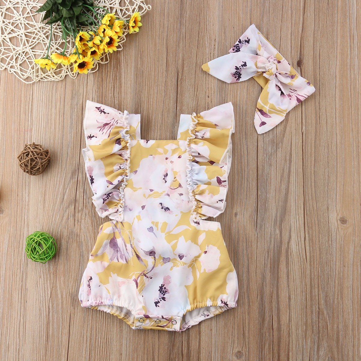Newborn Baby Girls Butterfly sleeve Romper Headband Set Infant Outfits Clothes Newborn Baby Girls Butterfly sleeve Romper+Headband Set Infant Outfits Clothes