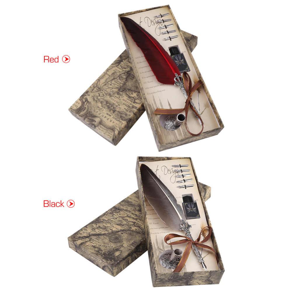 1 ชุดภาษาอังกฤษการประดิษฐ์ตัวอักษร Feather DIP ปากกาชุดเครื่องเขียนของขวัญกล่อง 5 Nib งานแต่งงาน Quill ปากกา fountain PEN ใหม่