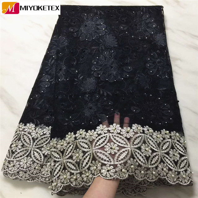 Latest French Nigerian Lace Fabric High Quality African Lace Fabric Wedding African French Tulle Lace With Beads&Stones PLA43-1