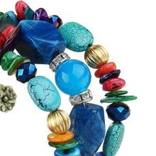 17KM Brand Woman Boho Multilayer Beads Charm Bracelets for Women Vintage Resin Stone Bracelets & Bangles Pulseras Ethnic Jewelry