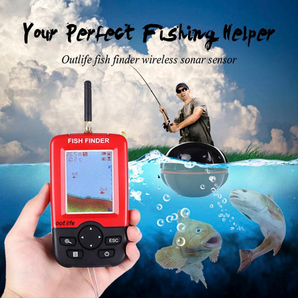 Outlife Smart Portable Fish Finder 100M Wireless Sonar Sensor Echo Sounder Fishfinder Lake Sea Fishing Sounder For Carp Fishing lucky ffw718 wireless portable fish finder 45m 135ft sonar depth sounder alarm ocean river lake