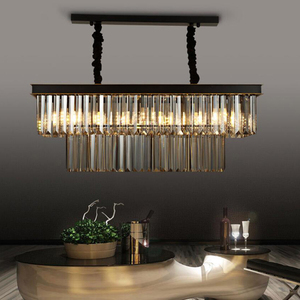 Image 3 - Dining Table Dining Lamp Chandelier Chandelier Crystal Rectangular Creative Personality Dining Room Lamp Bar Modern Chandelier