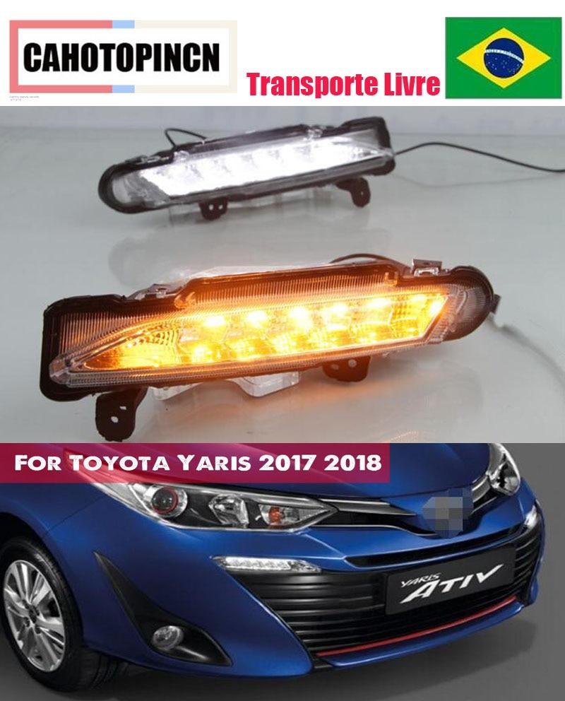 For Toyota Yaris 2017 2018 Waterproof 12V LED DRL Daytime driving Running Light Daylight fog lamp