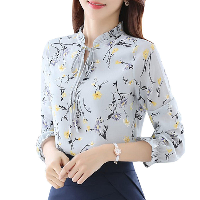 Blusas Women Tops Bluser Ladies Chiffon Long Sleeve Floral Shirt Women Slim Camisas Mujer Plus Størrelse Chemise Femme White Black