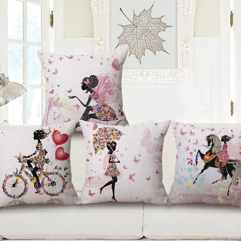 Cartoon Flower Beauty Riding Bicycle Printing Home Decor Sofa Car Seat Decorative Cushion Cover Pillow