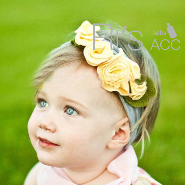 Retail adorable cluster of sweet yellow roses baby headband baby  accessories for hair 54105200a7b