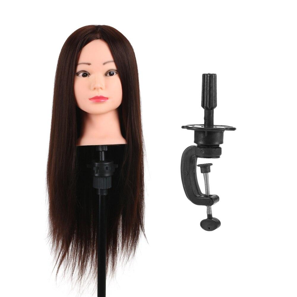 Formation Head 80% Réel Humain Cheveux Mannequin Tête De Coiffure Mannequin Tête Salon Cheveux Pratique Tête + Pince Cheveux Titulaire