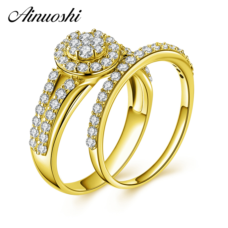 AINUOSHI 14K Solid Yellow Gold Bridal Ring Set Cluster SONA Diamond Halo Rings Engagement Wedding Gold