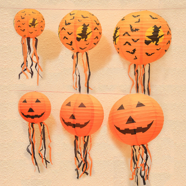 DIY Halloween Pumpkin Hanging Paper Lantern Light Lamp for Halloween Party Festival Scary Decorations