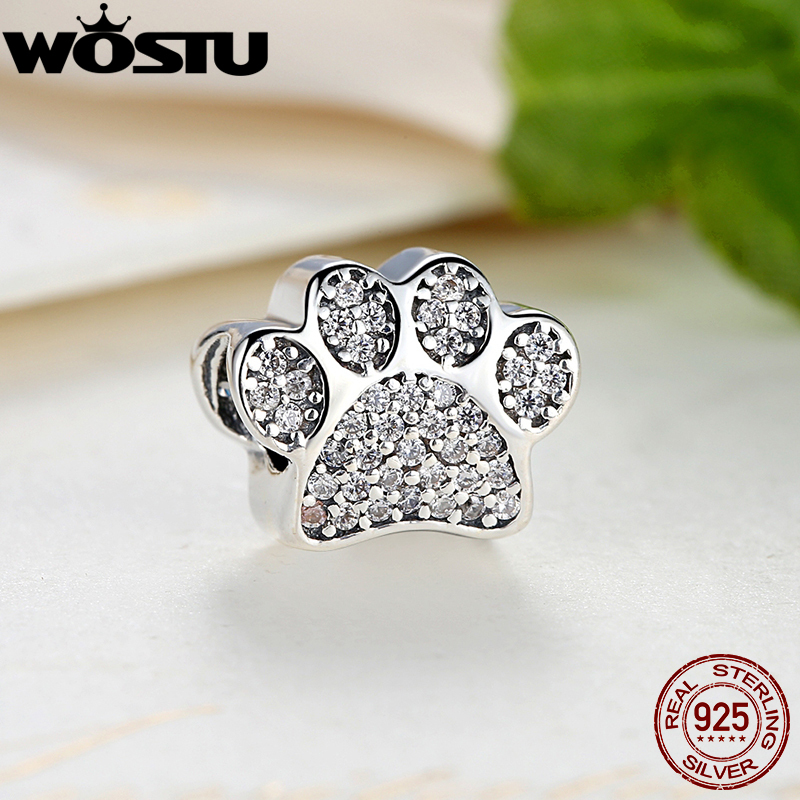 Hot Selling Real 925 Sterling Silver Paw Prints Charm Fit Original Bracelet Bangle Authentic Jewelry Gift