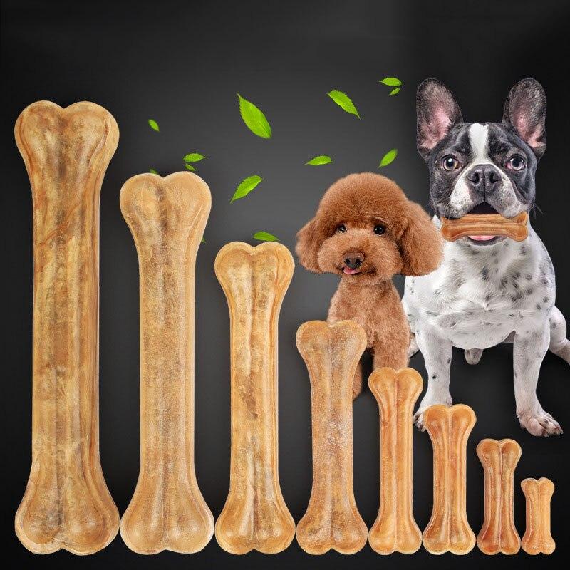 Pet Liefert Hund Kaut Spielzeug Leder Knochen Hund Kaut Snack 8 Größen Natur Langlebig Hund Kauen Spielzeug für Aggressive kauer