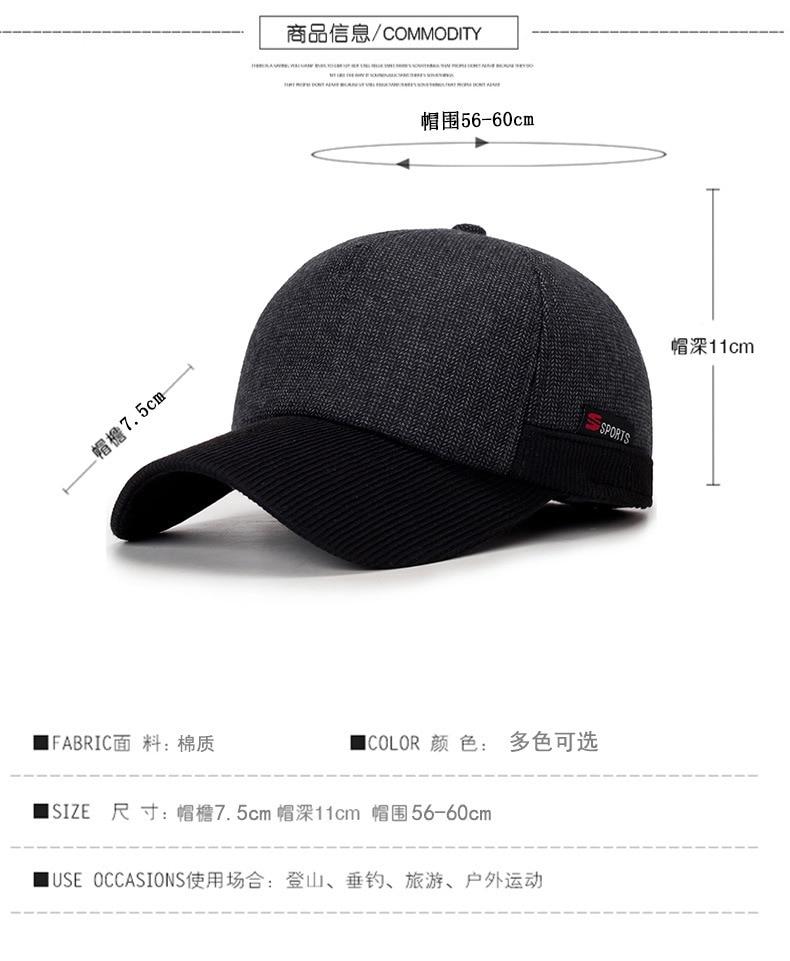 2017 Warm Winter Thickened Baseball Cap With Ears Men  S Cotton Hat  Snapback Winter Hats Ear Flaps For Men Women Hat Wholesale 0f76c563354c