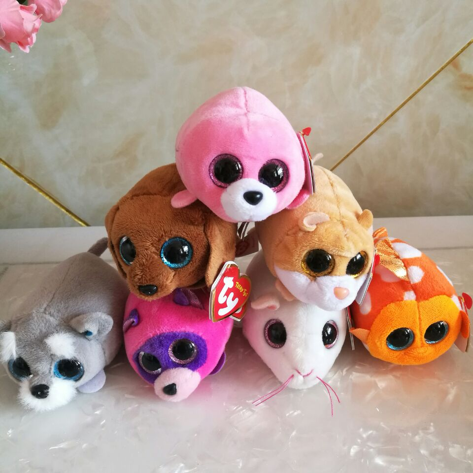 10CM TY Cara Cat Anna Mouse Peewee Hamster Ranger Dog Rugger SEAWEED Seal Miko Mouse Hootie Cassie Garter Rory Rooster
