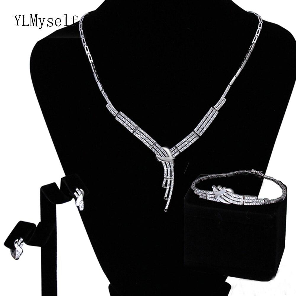 Pas cher prix 3 pièces ensemble de bijoux pour la fête Collier Boucles D'oreilles Bracelet grand CZ cristal Argent plaque ensembles de bijoux élégants