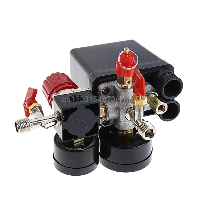 New Air Compressor Pressure Valve Switch Manifold Relief Regulator Gauges 120PSI - L057 Nnew hotNew Air Compressor Pressure Valve Switch Manifold Relief Regulator Gauges 120PSI - L057 Nnew hot