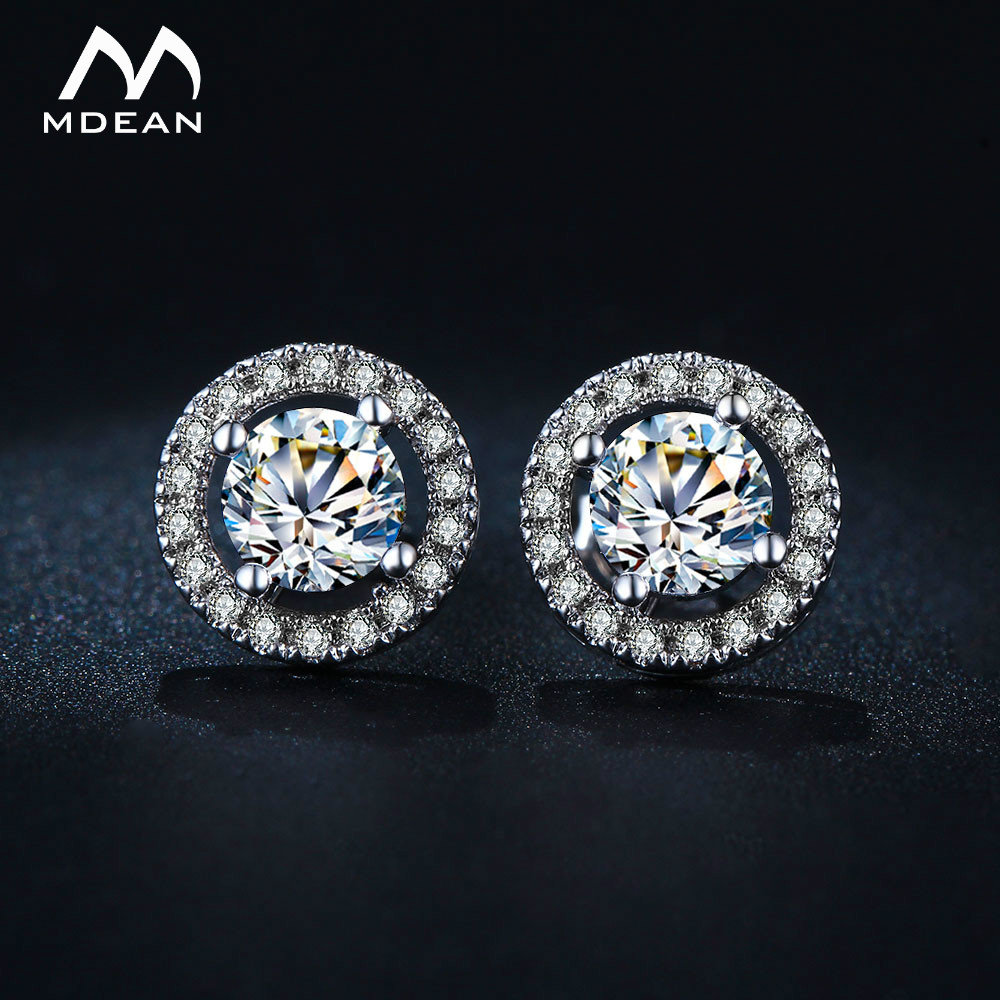 MDEAN Stud Earrings for Women White Gold Color   Jewelry AAA Zircon Round Boucle D'oreille Wedding Brincos MSE032