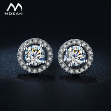 MDEAN Stud font b Earrings b font for Women White Gold Color Jewelry AAA Zircon Round