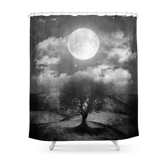Black And White Once Upon A Time The Lone Tree Shower Curtain