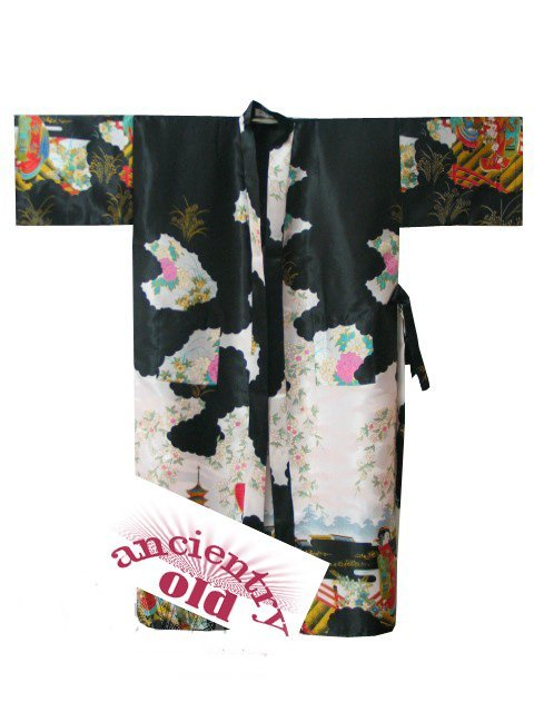 Sexy Black New Chinese Women's  Silk Rayon Robe Kimono Bath Gown Flowers S M L XL XXL XXXL Free Shipping S0014