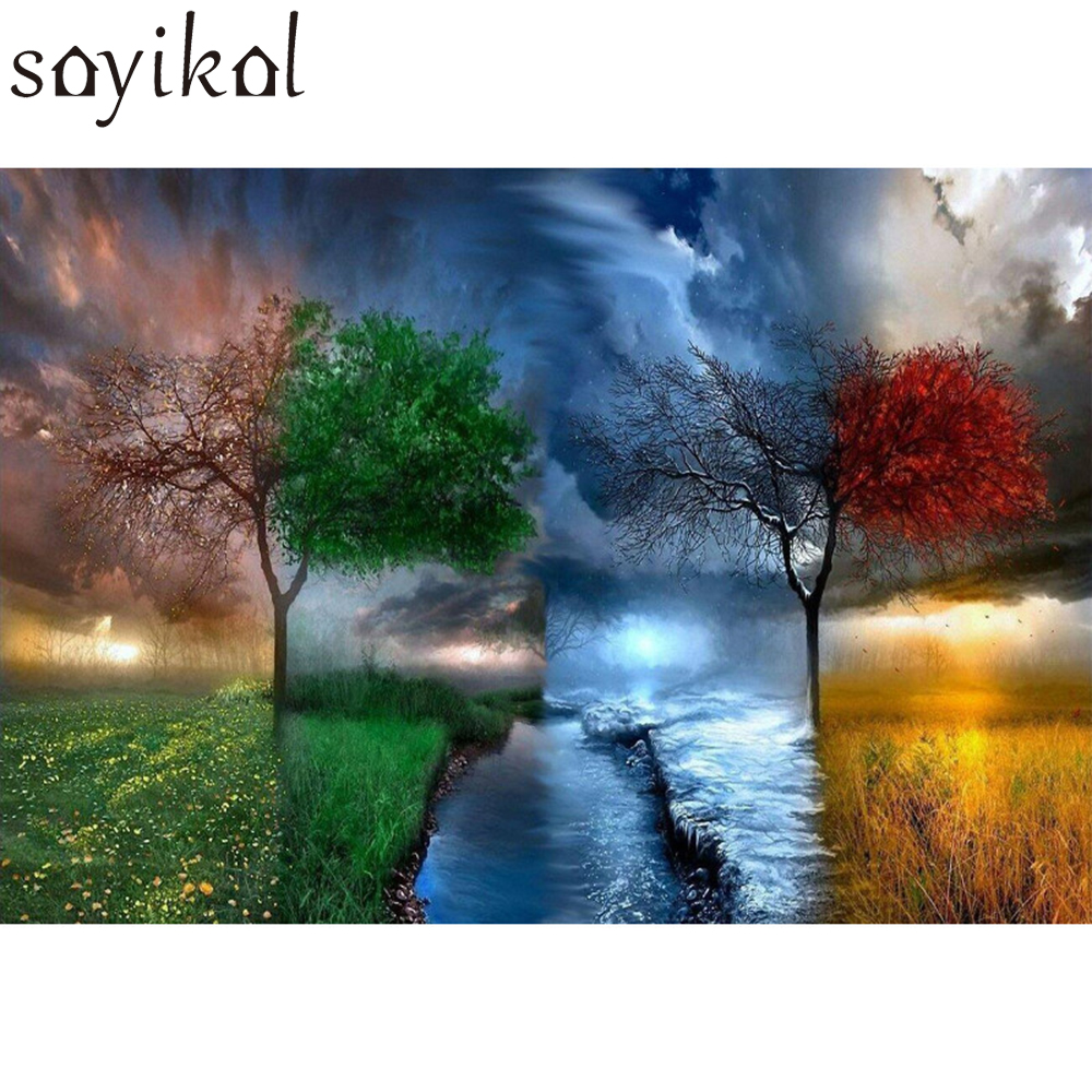 DIY Pictures By Numbers New Design Canvas Digital Drawing Coloring Oil Painting By Numbers Fantasy Landscape Tree Wall Art