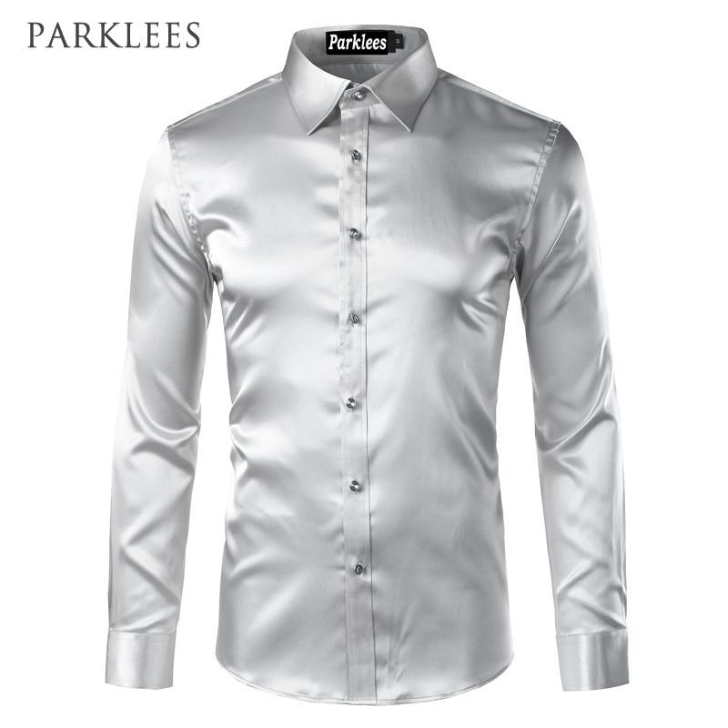 Silk Shirt Men 2017 Satin Smooth Men Solid Tuxedo Shirt Business Chemise Homme Casual Slim Fit Shiny Gold Wedding Dress Shirts 3