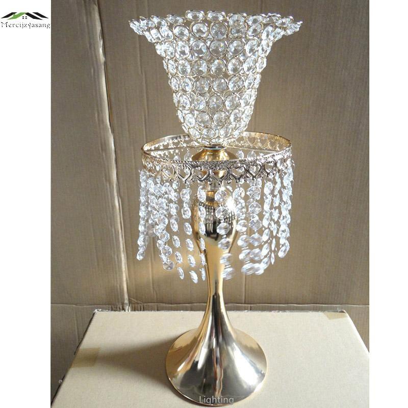 Новые металлические хромированные Подсвечники с кристаллами 52 см/21 Дорога привести стоять столб подсвечник для свадьбы канделябры 01102