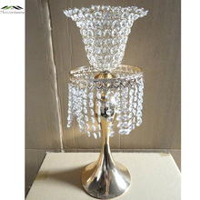 New Metal Chrome Plated Candle Holders With Crystals 52CM/21'' Road Lead Stand Pillar Candlestick For Wedding Candelabra 01102