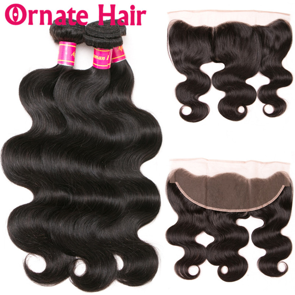 Ornate Hair Brazilian Body Wave Bundles With Frontal Human Hair Bundles With Closure Lace Frontal With Bundle Free Part Non Remy
