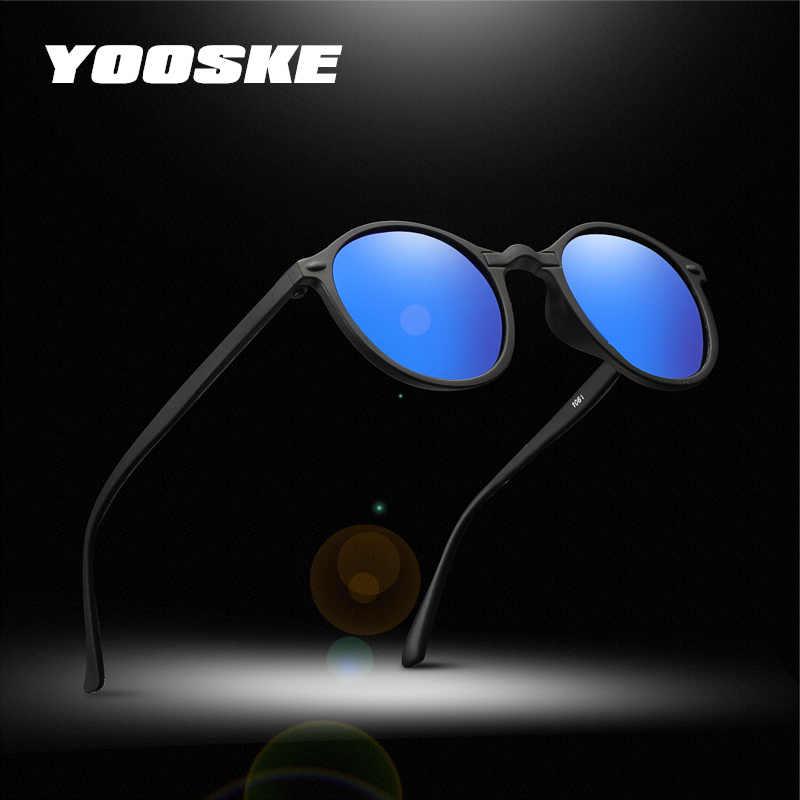 YOOSKE للرؤية الليلية الاستقطاب النظارات الشمسية الرجال النساء نظارات صغيرة مستديرة الأصفر نظارات شمسية سائق ليلة القيادة UV400 نظارات
