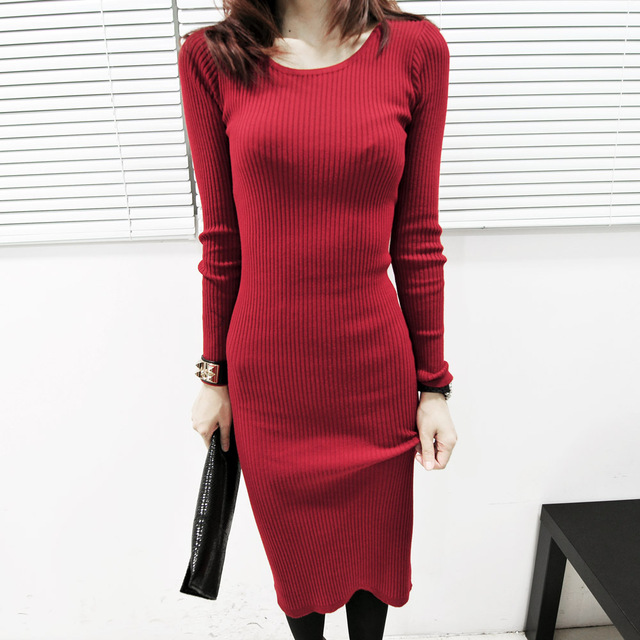 FREE SHIPPING 2012 single solid color long-sleeve knitted one-piece dress 3 color