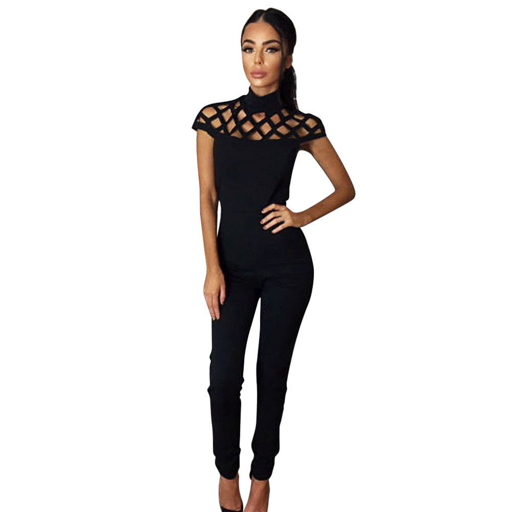 Free Ostrich Womens Choker High Neck Caged Sleeve Playsuits Long   Jumpsuits   Rompers Combinaison Femme D0635