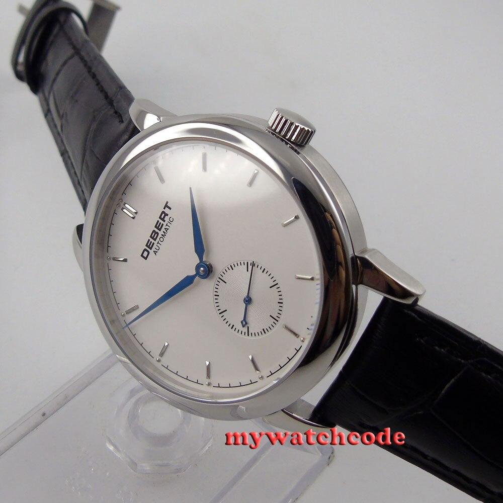 Полированные 40 мм brief deber белый циферблат синие метки автоматические unsex мужские часы 28