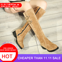 5692a16eb Size Big 34 43 Shoes Women Knee Snow Boots Metal Buckle High Heel Boots  Thick Fur