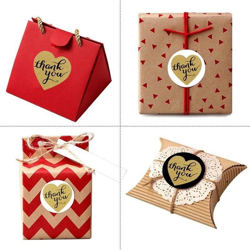 Купить с кэшбэком 500pcs/roll Love Heart THANK YOU Stickers Scrapbooking Kawaii Stationery DIY Cake Biscuit Baking Sealing Labels Gift Box Sticker