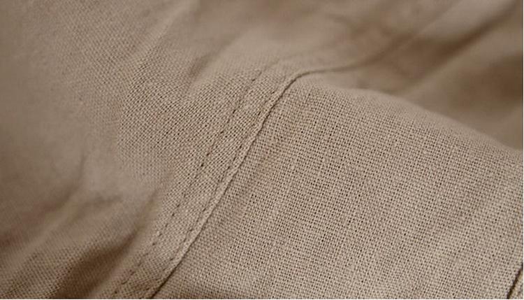 Pantalon pour hommes en lin et coton beige, détail tissu