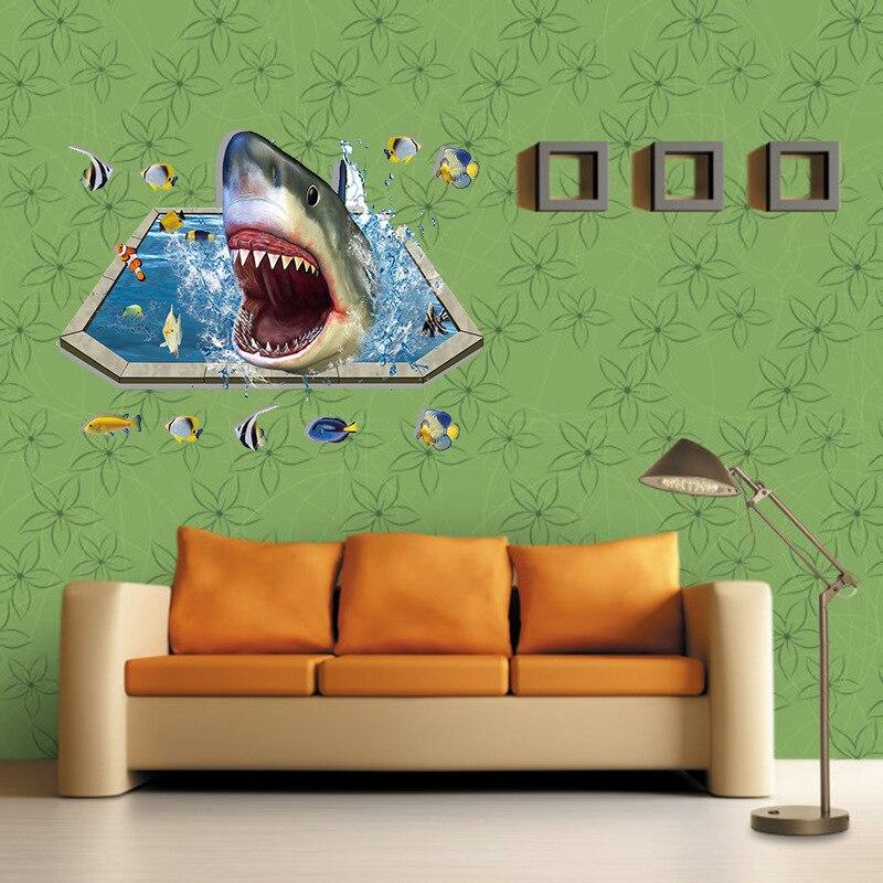 Последний удивительные 3D Акула Наклейки на стену Домашний декор для парней комнаты Приключения обои наклейка Съемный Фреска Art 60x90 см cp0432