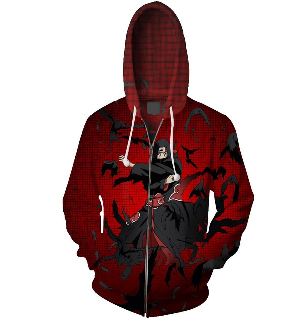 Akatsuki Cosplay Naruto Costume Cloak Hoodie Naruto Uchiha Itachi Anime Adult men Ms 3D Printed Zip Hooded Sweatshirt Jacket