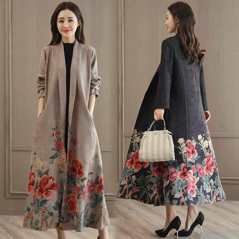 Новый осенний замшевый плащ с принтом Женская Длинная Элегантная верхняя одежда женский кардиган с поясом ветровка Abrigo Mujer R761