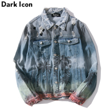 Dark Icon Ripped Denim Jacket Men 2018 Turn-down Collar Jeans Jacket Hip Hop Jacket Coconut Tree Jackets for Man Male Clothes