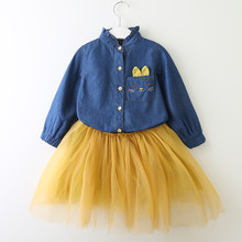 b6a68072c8 Ropa para niños trajes 2019 nueva moda verano estilo las niñas vaquero de  manga larga vestido
