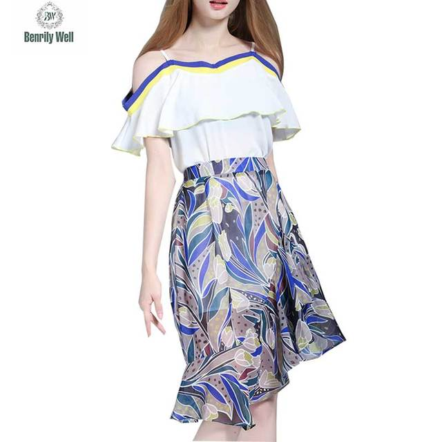 Europe Women Summer Beach Causal Party 2 Two Piece Set Sexy Strapless Dresses + Print Flower Gauze Skirts Suits Ladies Clothing