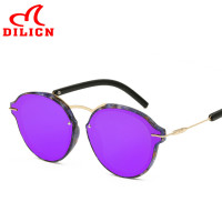 DILICN Trendy Purple Mirror Sunglasses Women Metal Frame Vintage Sun Glasses Retro Brand Designer Eyewear Goggles