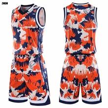 ZMSM Adult Personalized Print Basketball Jerseys Set High Quality Training Uniform Custom V-neck Sports Suit GY8336
