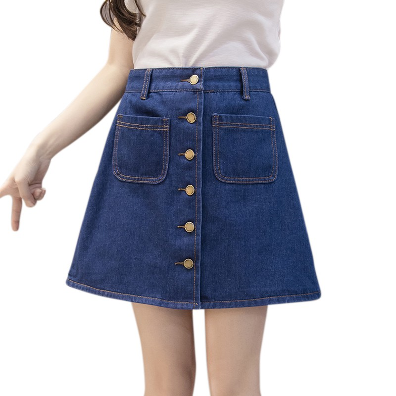 Summer Womens A-Line Jeans Skirt Fashion Button High Waist Small Pockets Skirt