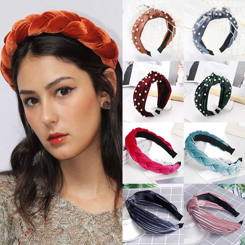 LNRRABC 2019 new 1pcs Velvet Accessories Women's Pearl Hairband Headband Knot Tie Crystal Hair Hoop Hair Jewelry hot sale
